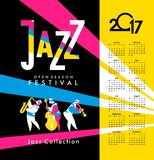 Jazz and blues calendar 2017. Vector calendar 2017 on a season of jazz music jazz band festival Stock Images