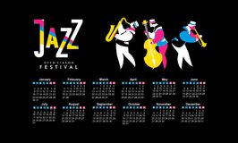 Jazz and blues calendar 2017. Vector calendar 2017 on a season of jazz music jazz band festival Stock Photo