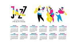 Jazz and blues calendar 2017. Vector calendar 2017 on a season of jazz music jazz band festival Stock Image