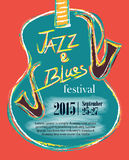 Jazz and Blues Hand Drawn Poster Royalty Free Stock Photography