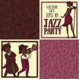 Jazz or blues music band and seamless patterns for party. Set of vector illustrations: cute doodle musicians in 1920's style, jazz or blues music band and vector illustration