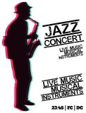 Jazz blues music concert, poster background template. Vector design poster. Jazz blues music concert, poster background template royalty free illustration