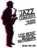Jazz blues music concert, poster background template. Stock Image