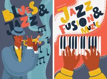 Jazz and blues music festival colorful posters. Piano player playing piano keys. Black musician playing on trumpet. Vector cartoon illustration of hand drawn stock illustration