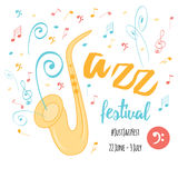 Jazz blues music festival, poster background template. Card. Stock Photography