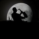 Jazz blues musician at moonlight. Vector illustration as silhouette of jazz or blues musician playing on his saxophone at night with full moon and new york Royalty Free Stock Photos