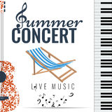 Jazz and Blues summer music consert. Poster background template. Stock Image
