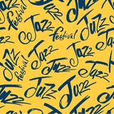 Jazz. Brush pen lettering seamless pattern. Vector ink inscription. Calligraphy modern style. Music poster. Perfect for royalty free illustration