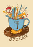 Jazz cafe concept with musical instruments in a cup Stock Photography