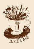 Jazz cafe concept with musical instruments in a cup Royalty Free Stock Image