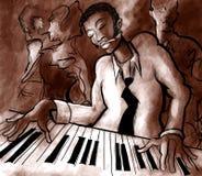 Jazz, cantante e sassofonista del piano illustrazione vettoriale