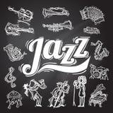 Jazz Chalkboard Set royalty-vrije illustratie