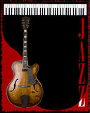 Jazz Club Background. A piano and saxophone jazz poster background Royalty Free Stock Photography