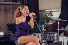 In the jazz club. Copy-spaced image of a jazz singer performing on the concert royalty free stock image