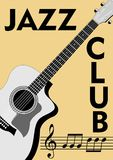 Jazz club leaflet with monochrome guitar drawing and notation in retro style. Treble clef, stave and notes on old beige paper back Royalty Free Stock Photography