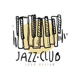 Jazz-Club-Logodesign, Weinlesemusikaufkleber mit Klaviertastatur, Element für Flieger, Karte, Broschüre oder Fahne, Hand gezeichn Stockbilder