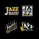 Jazz club musical live festival vector sax and piano icons. Jazz club or live festival vector logos templates set. Isolated icons of sax or saxophone and piano Royalty Free Stock Images