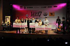 Jazz Competition. Winning finalists collect awards on stage at the Bangkok Art and Culture Centre during the 7th annual Thailand Jazz Competition on March 7 Stock Photos