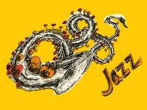 JAZZ Concept, Gegraveerde Muziek, Getrokken Hand, Schets Stock Foto