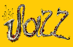 JAZZ Concept, Gegraveerde Muziek, Getrokken Hand, Schets Royalty-vrije Stock Fotografie