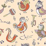 Jazz concept wallpaper. Birds sing and dancing Stock Images