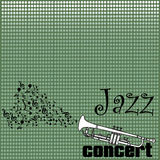 Jazz concert. Abstract colorful background with musical notes coming out from a white trumpet. Jazz concert concept Stock Photo