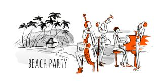 Jazz concert on the beach. Jazz band and sea shore with palm trees.  Stock Photo