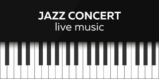 Jazz concert poster design. Live music concert. Piano keys. Vector illustration. Royalty Free Stock Image