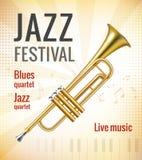 Jazz concert poster. Jazz festival music concert poster with golden trumpet vector illustration Stock Photo