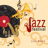Jazz concert poster. Jazz retro music festival concert live horn performance poster with black vinyl gramophone record abstract vector illustration Royalty Free Stock Photography