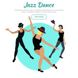 Jazz Dance Conceptual Flat Style Vector Web Banner. Jazz dance concept web banner. Flat style vector. Three women in tights, shirts and hats dancing Stock Images