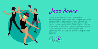 Jazz Dance Conceptual Flat Style Vector Web Banner. Jazz dance concept web banner. Flat style vector. Three women in tights, shirts and hats dancing Royalty Free Stock Photo