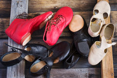 Jazz Dance shoes of different colors, top view.  Royalty Free Stock Images