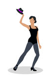 Jazz Dancer in Black Tights Launches with Hat Royalty Free Stock Photos
