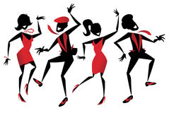 Jazz Dancers. Illustration of a group of energetic Retro styled Jazz dancers Royalty Free Stock Photos