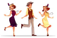 Jazz dancers man and women vector illustration stock illustration