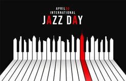 Jazz Day-affiche van pianosleutels als stadshorizon vector illustratie