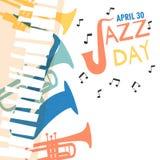Jazz Day affisch av färgrika musikmusikbandinstrument royaltyfri illustrationer