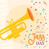 Jazz Day affisch av saxofonmusikinstrumentet royaltyfri illustrationer