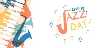 Jazz Day kort av färgrika musikmusikbandinstrument vektor illustrationer