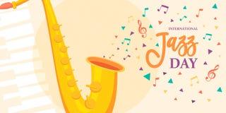 Jazz Day kort av saxofonmusikinstrumentet vektor illustrationer