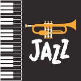 Jazz day poster with piano keyboard and trumpet. Vector illustration design stock illustration