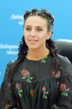 Jazz on the Dnieper. DNIPRO, UKRAINE - SEPTEMBER  10, 2016: Famous Ukrainian singer Jamala during a press conference at the  festival Jazz on the Dnieper Royalty Free Stock Photography