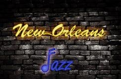 Jazz do néon de Nova Orleães Fotos de Stock