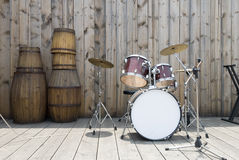 Jazz drum set. On the country stage Stock Images