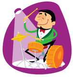 Jazz drummer. Playing the drums Royalty Free Illustration