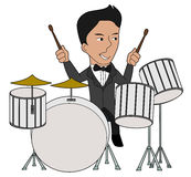 Jazz drummer cartoon. Drums player illustration isolated on a white background Stock Photos