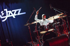 Jazz drummer David Haynes at Kaunas Jazz 2015 Royalty Free Stock Photo