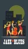 Jazz e azuis ilustração royalty free