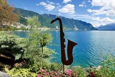 Jazz em Montreux na linha costeira de Genebra do lago fotografia de stock
